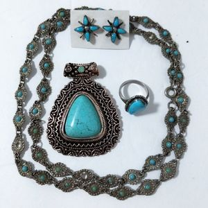 Turquoise 925 Sterling Silver Jewelry Bundle